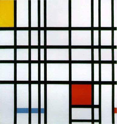 """P. Mondrian: Composición con rojo, amarillo y azul""""."""
