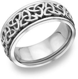 Celtic Trinity Knot Wedding Band, 14K White Gold | Applesofgold. Maybe  Engrave And Put A Ruby Inside The Band.