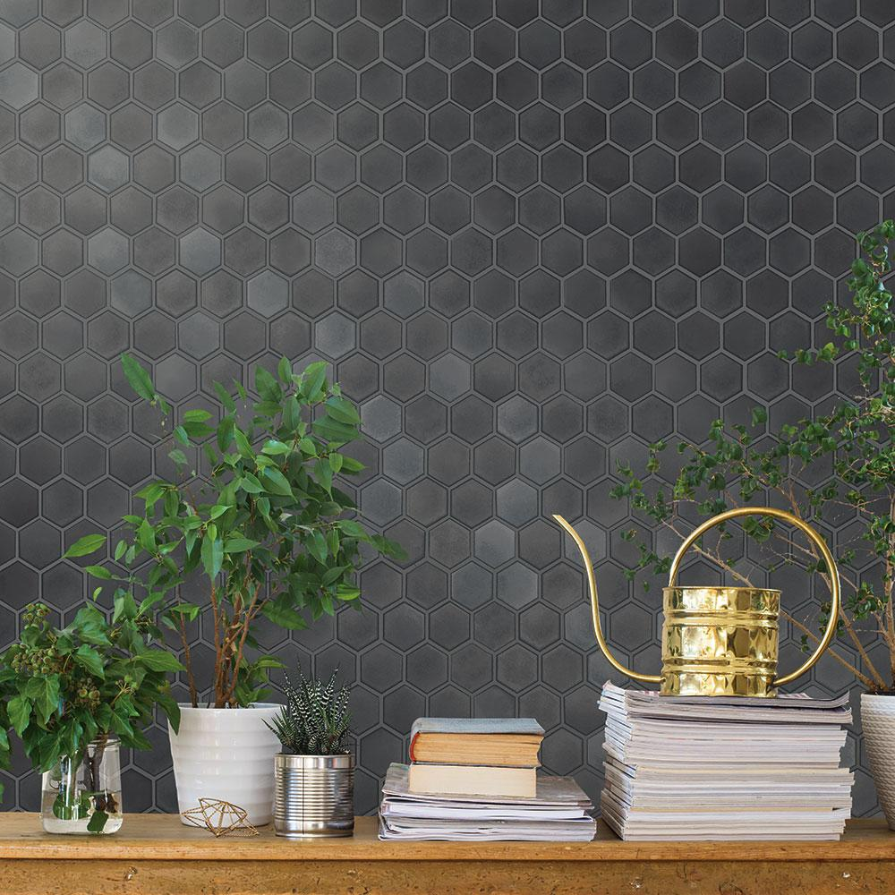 Tempaper Hexagon Tiles Gunmetal Wallpaper Sample Hd20596 The Home Depot Kitchen Wallpaper Accent Wall Peel And Stick Wallpaper Hexagon Tiles