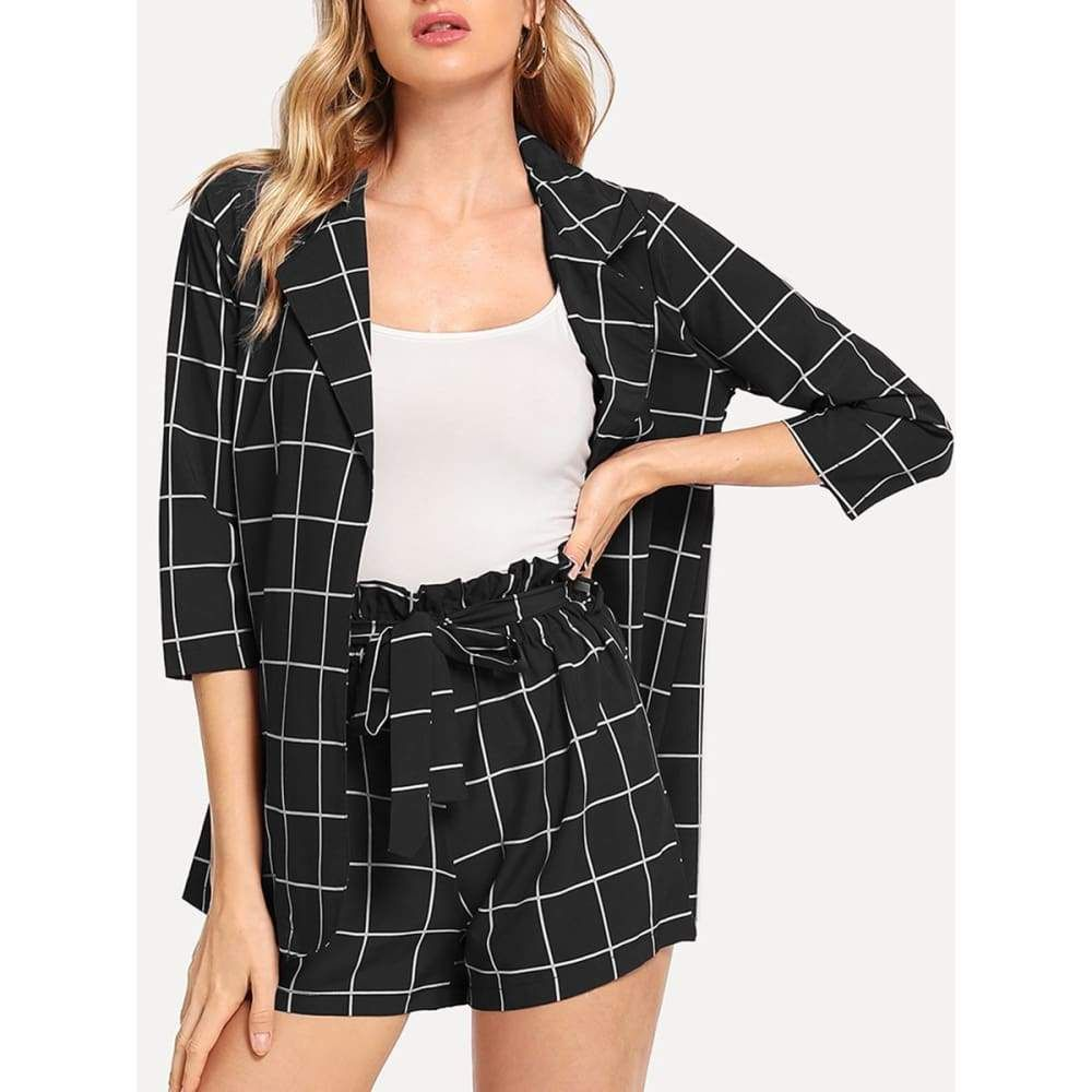 Plaid Blazer With Self Tie Waist Shorts Office Co Ord Sets