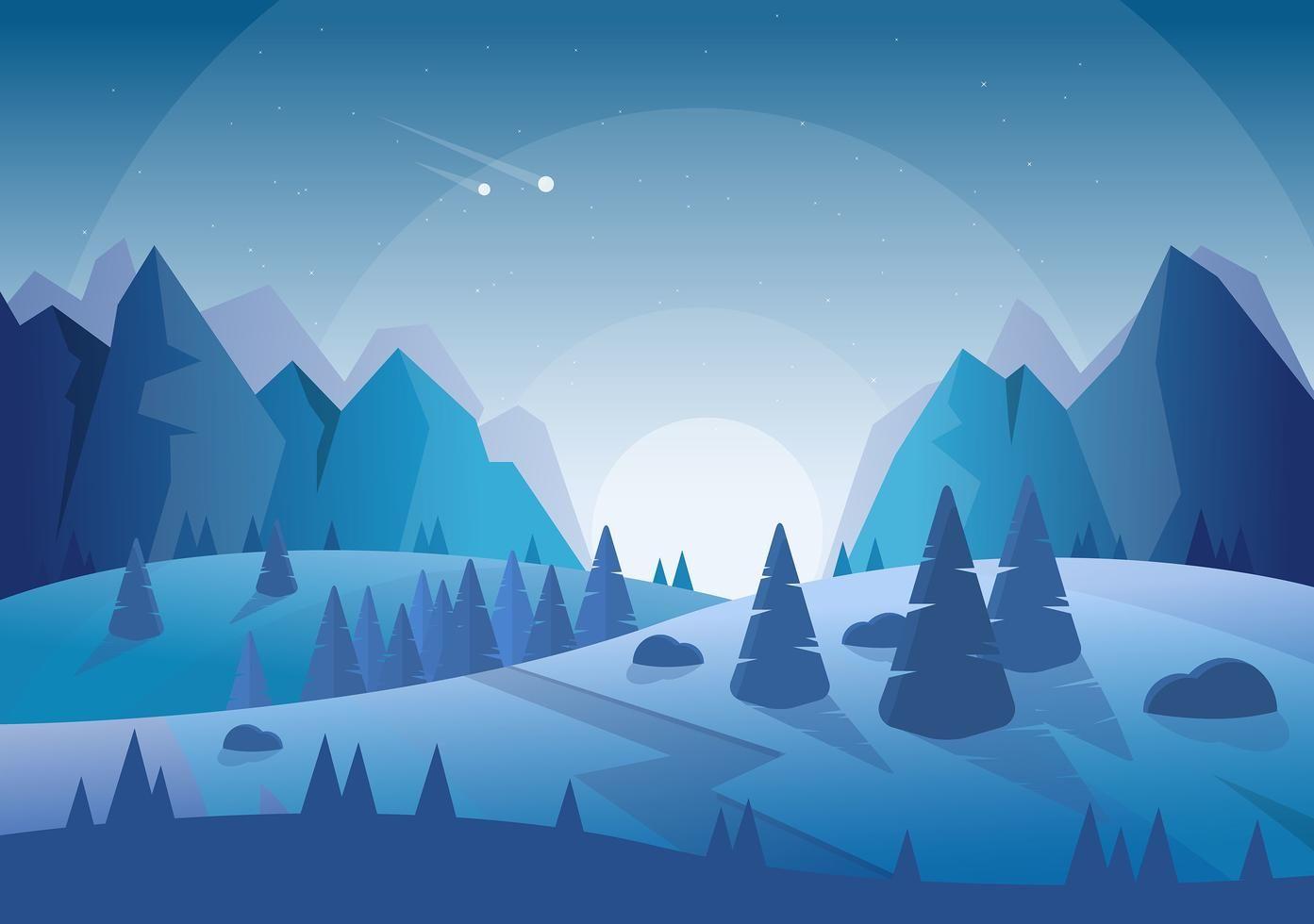 Vector Blue Landscape Illustration Landscape Illustration Digital Illustration Desktop Wallpaper Art