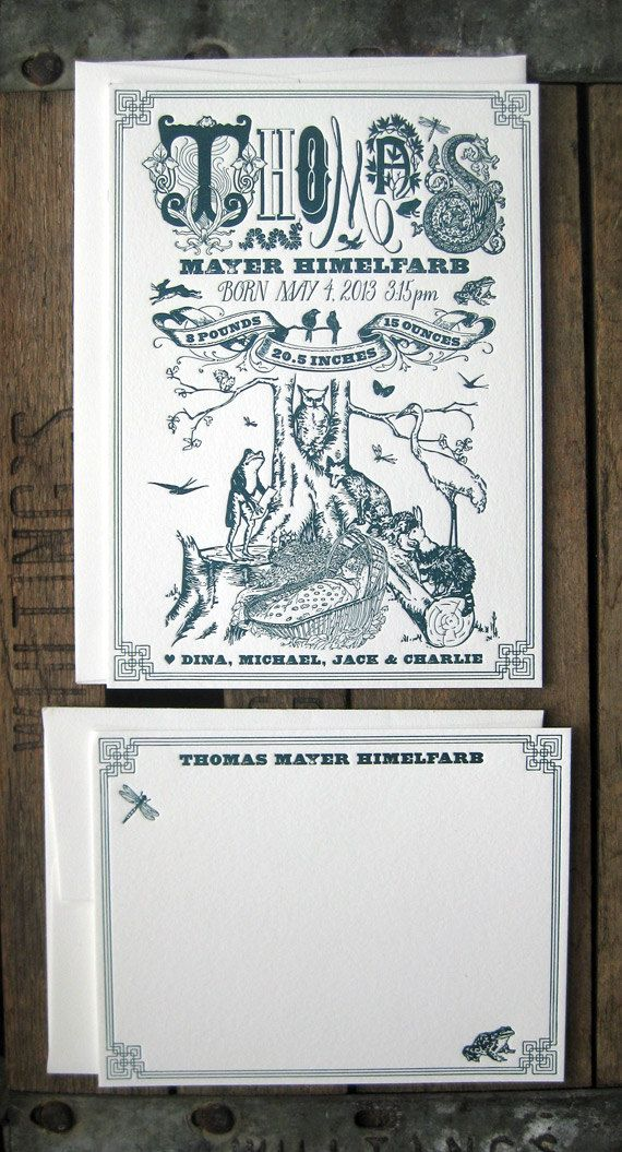 Forest Fauna Gathering Letterpress Birth Announcement /& Thank You Note Suite
