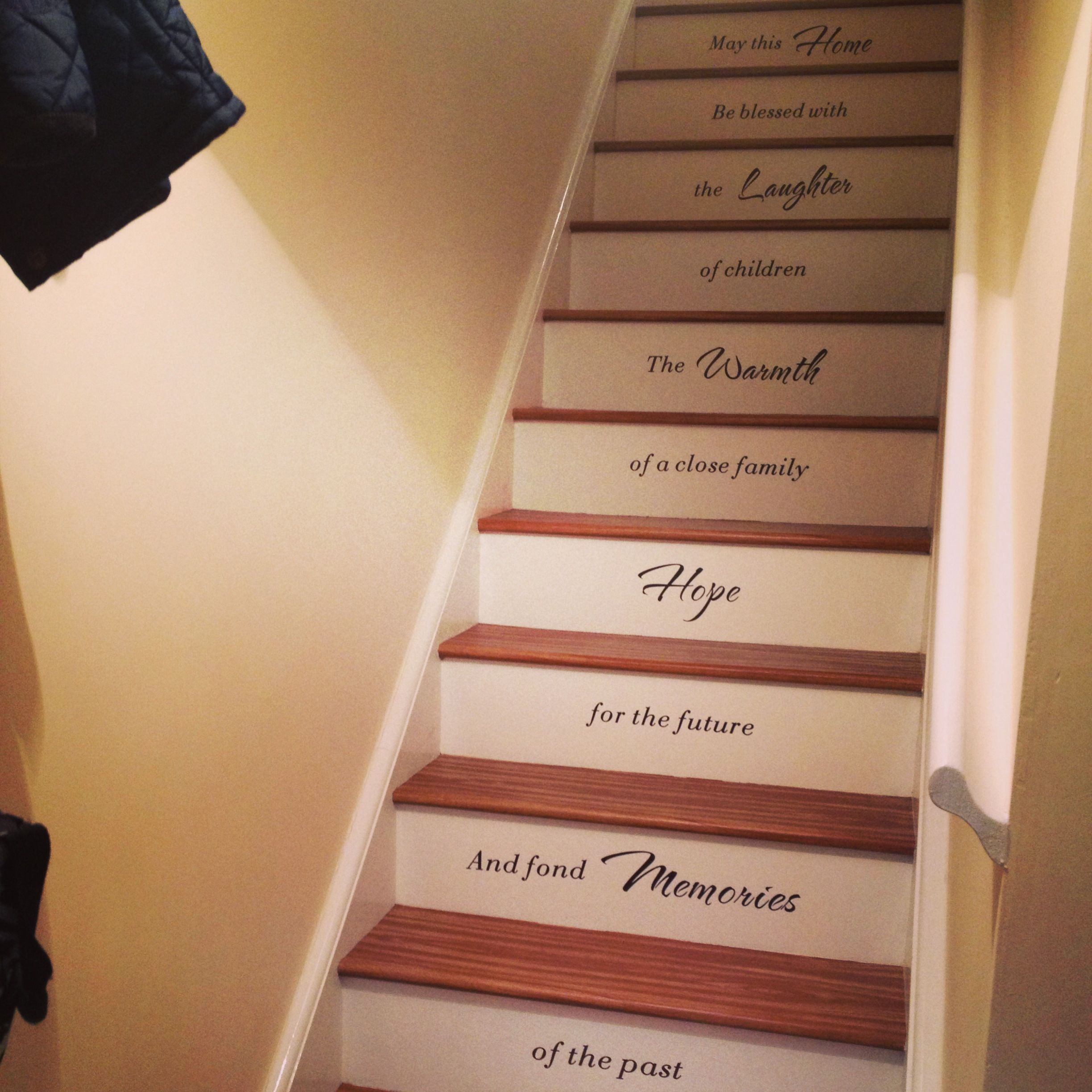 21 Attractive Painted Stairs Ideas Pictures: Our Amazing Painted Stairs With Beautiful Quote