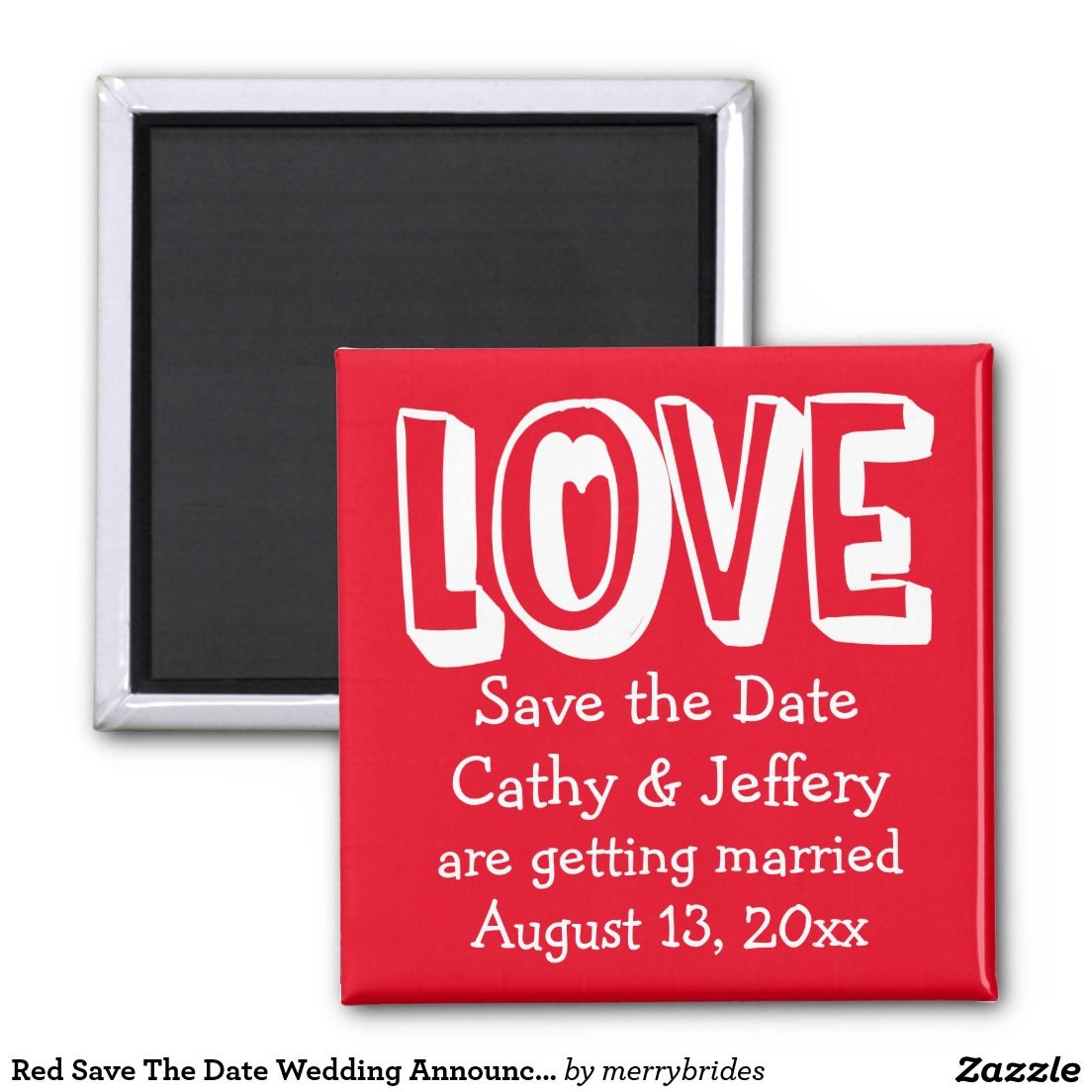 Red Save The Date Wedding Announcement Love 2 Inch Square Magnet ...