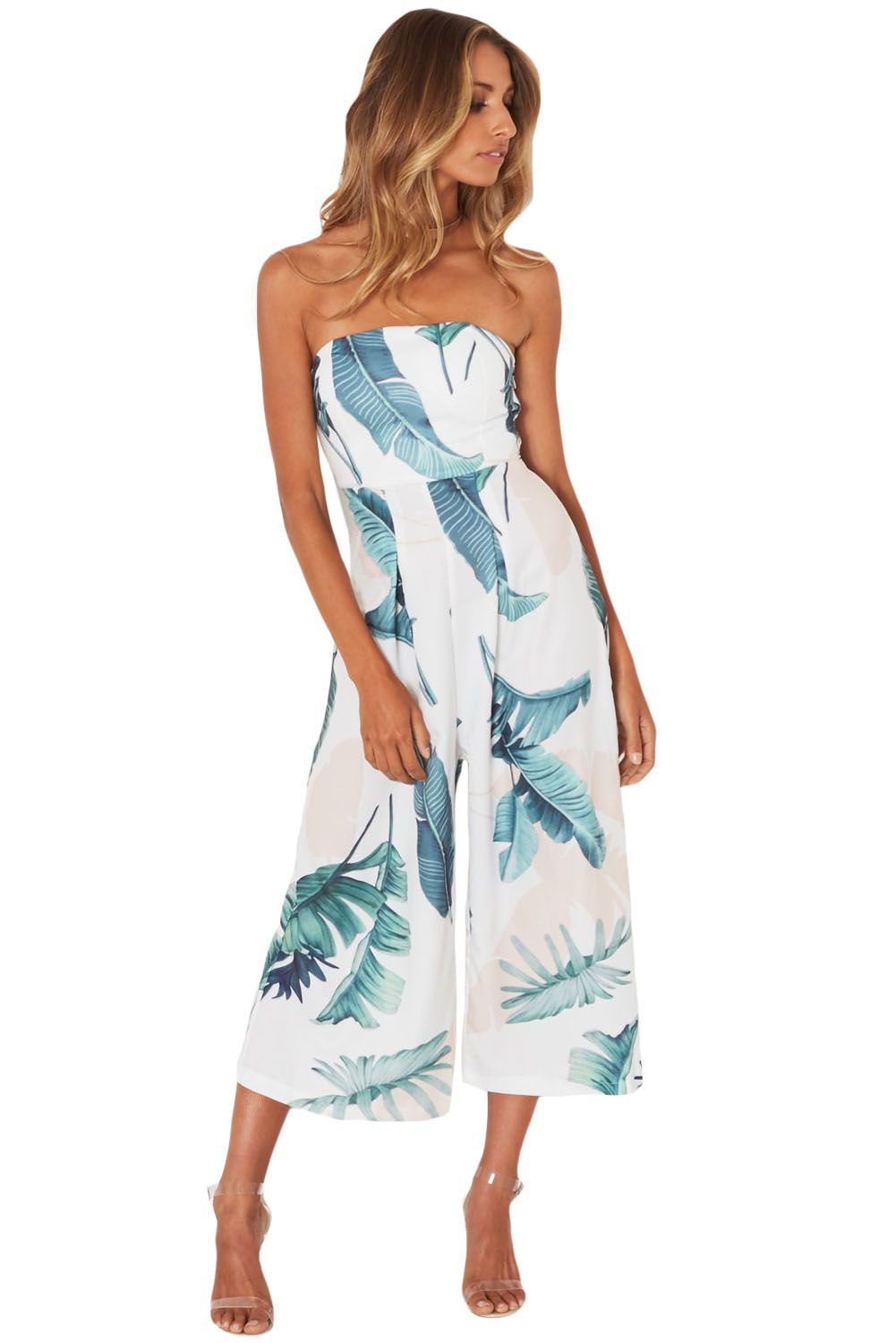bffad8a2f1e5 White Leaf Print Strapless Capris Jumpsuit. White Leaf Print Strapless  Capris Jumpsuit Rompers Dressy