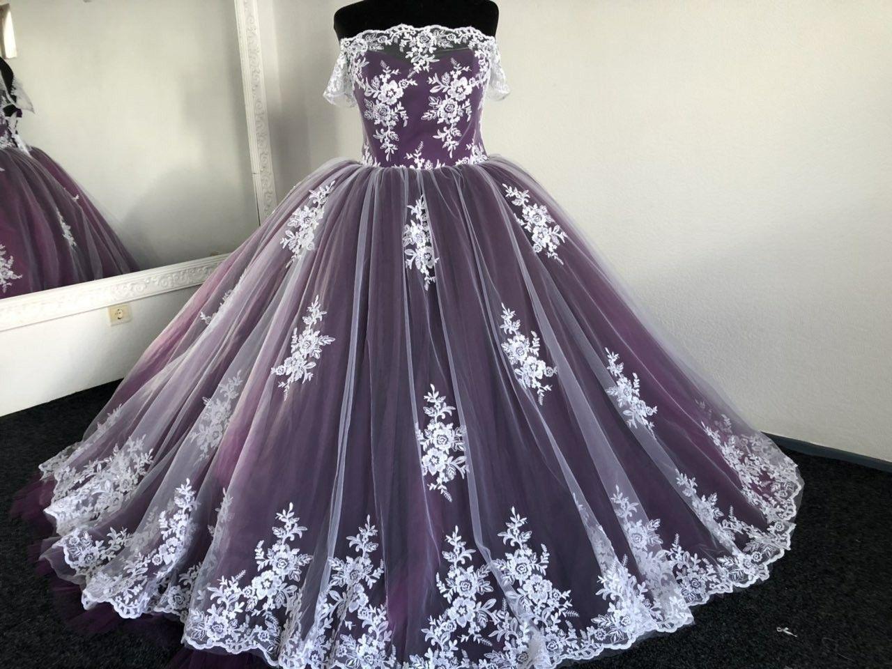 Purple Wedding Dress Gothic Wedding Dress Trail Wedding Dress Etsy In 2021 Purple Wedding Dress Purple Wedding Gown Etsy Wedding Dress [ 960 x 1280 Pixel ]