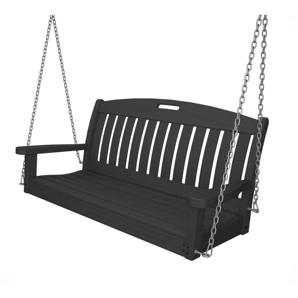 Polywood Nautical 48 In Slate Grey Plastic Outdoor Porch Swing
