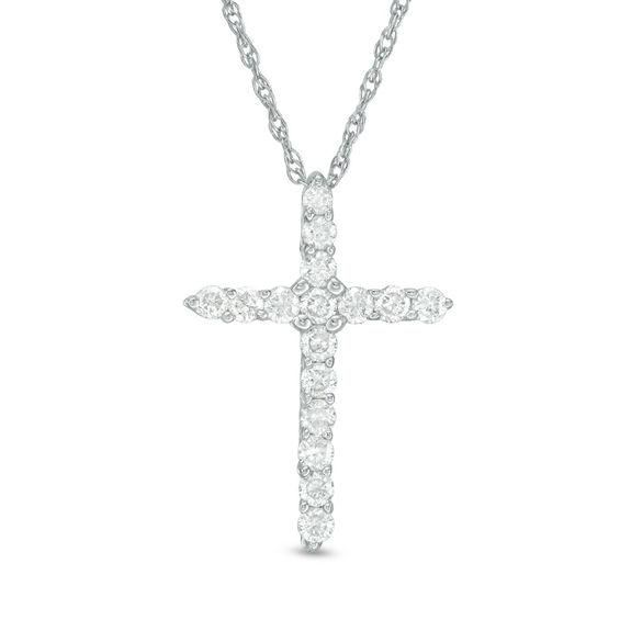 Zales 1/20 CT. T.w. Diamond Cross Pendant in Sterling Silver with 14K Gold Plate