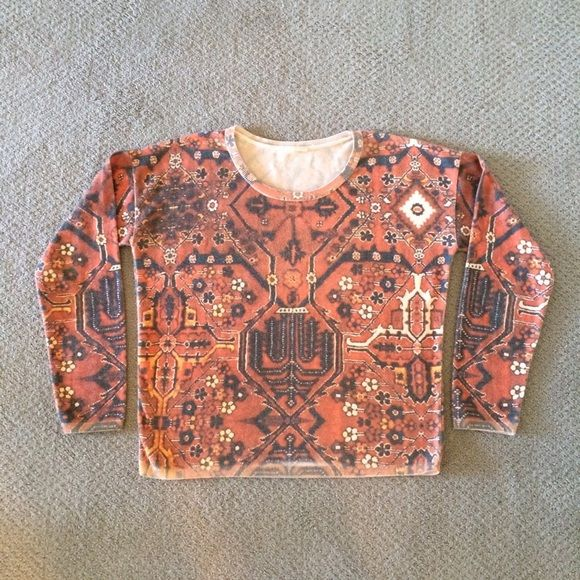 Love kilim pattern so bought for $83.30- but it just doesn't look good on me. Runs a bit large IMO, but sold out- before I cd get S - wore 3 times, cold washed, block dried, in excellent condition. Has an incredibly soft feel. Looks great with denim/chambray. Color as in photo