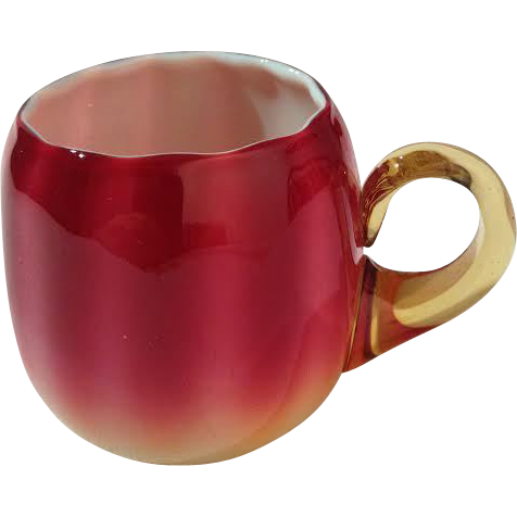 new England Plated Amberina Punch Cup. 2 11/16 Inch HOA AND 2 Inch Rim Opening.