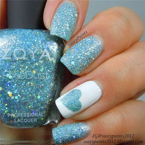 45 romantic heart nail art designs blue glitter nail art blue 45 romantic heart nail art designs prinsesfo Gallery