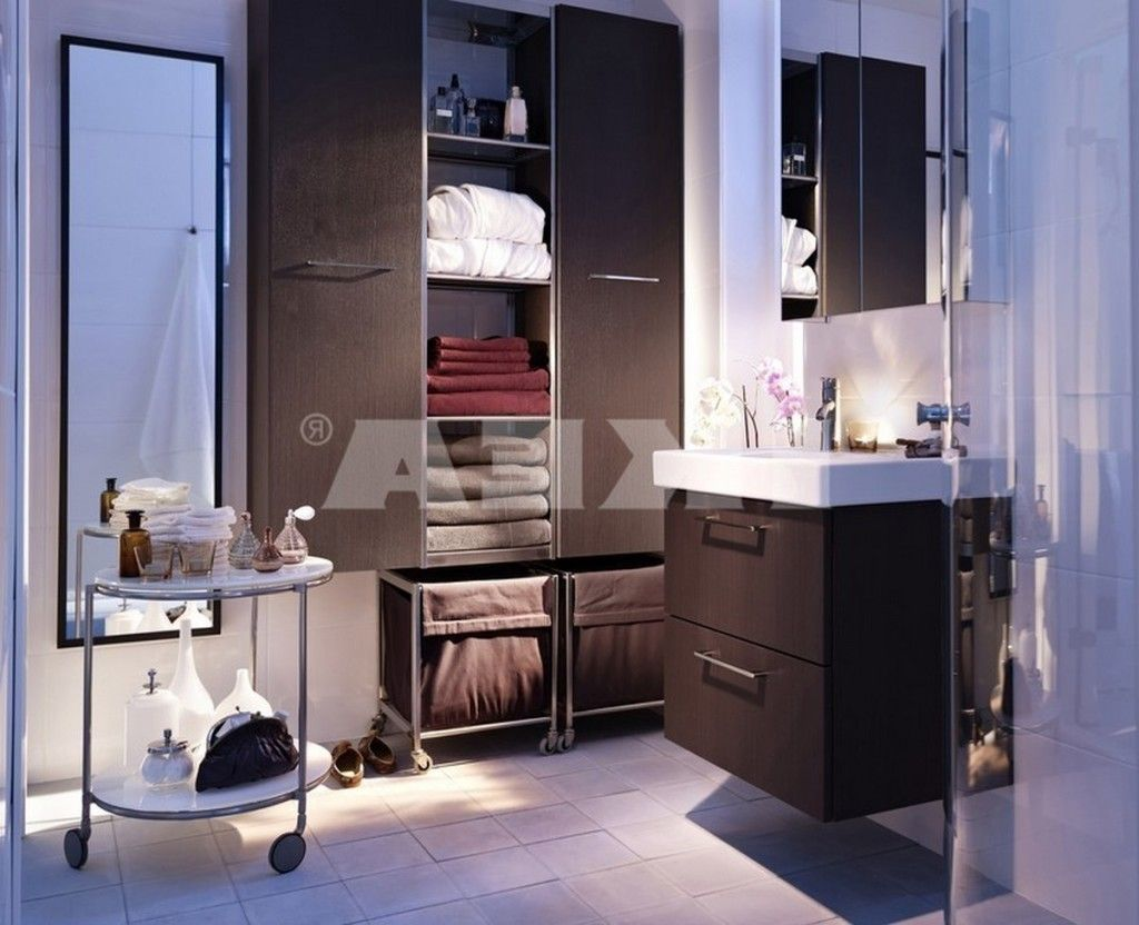 Bathroom Awesome Ikea Bathroom With Wall Mounted Cabinet Units Also Bags Of Storage Space Also Glazed Shower Room And Moveable Table Also White Flooring And M