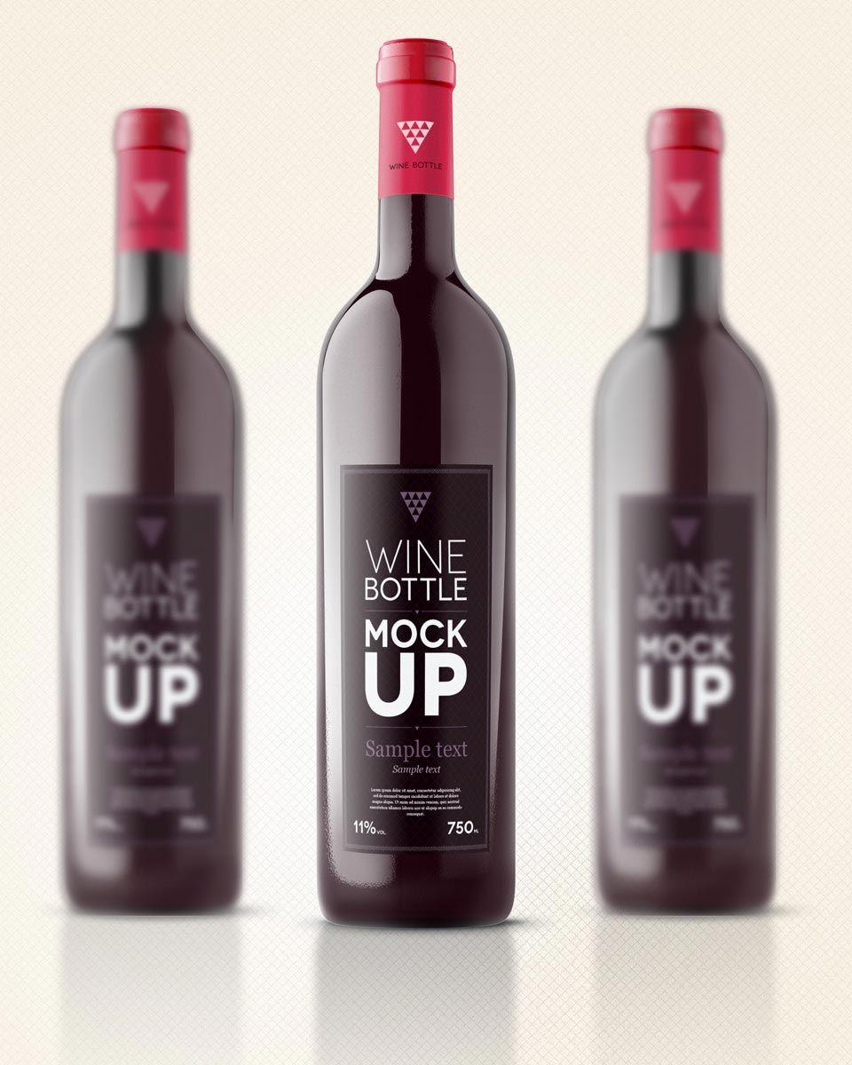 Free Wine Bottle Mockup Free Mockup Pinterest Bottle