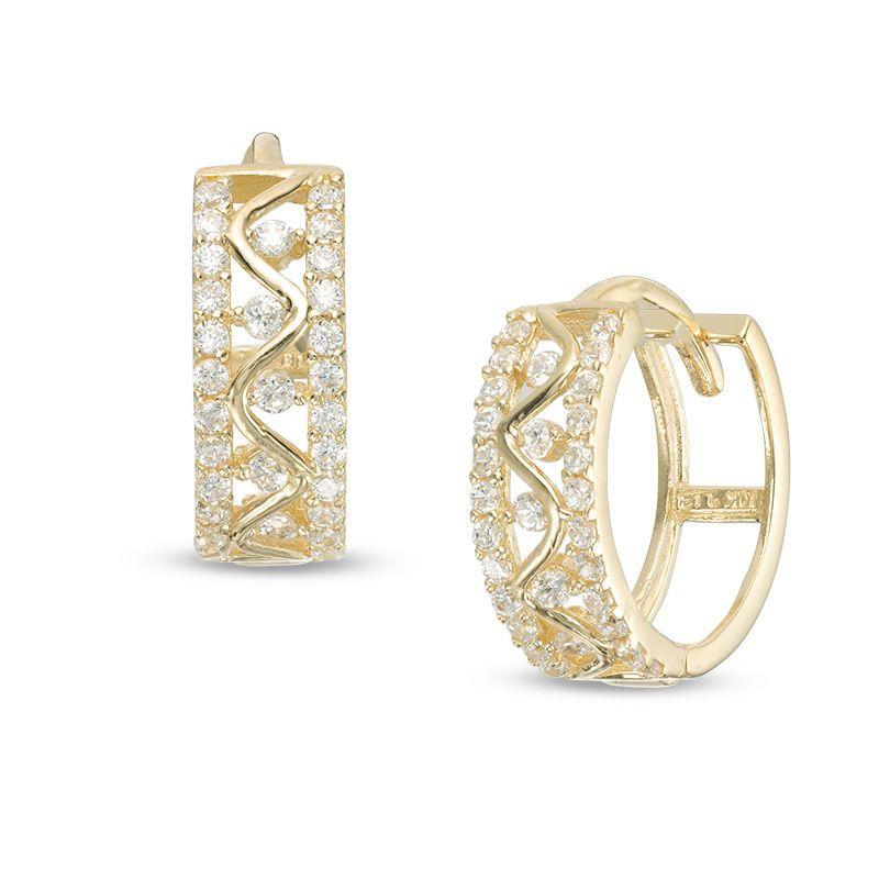 b6882e2cb6a99 Cubic Zirconia Zig-Zag Huggie Hoop Earrings in 10K Gold|Piercing ...