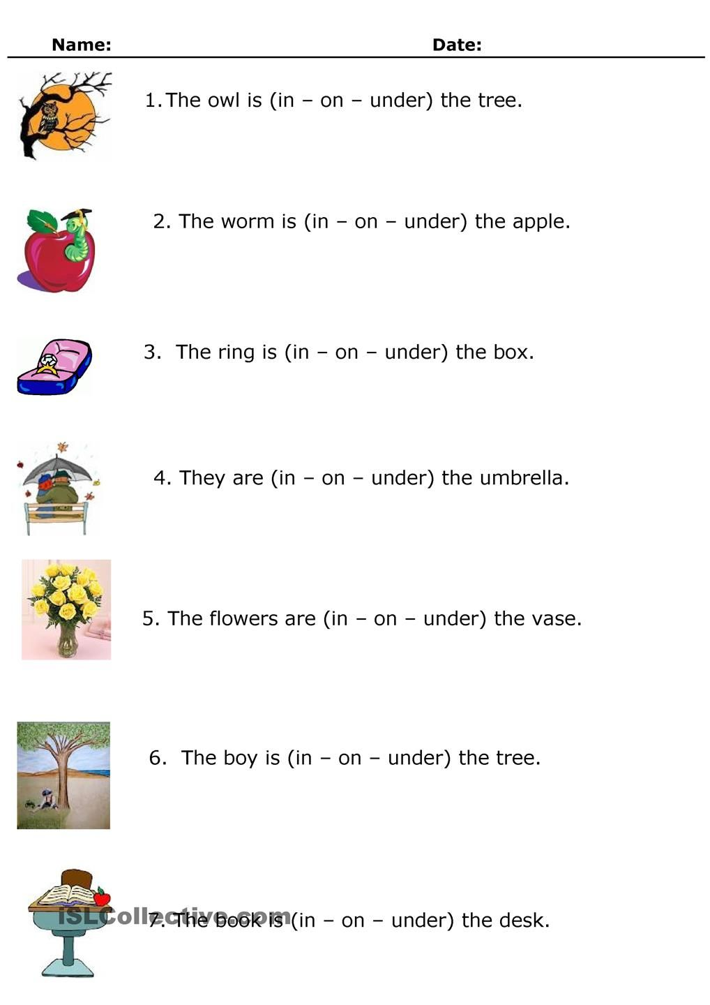 In On Or Under In On Under Pinterest Prepositions Worksheets