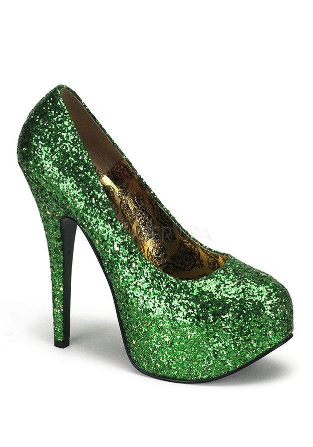 dfa887c194d5 Green Glitter High Heels
