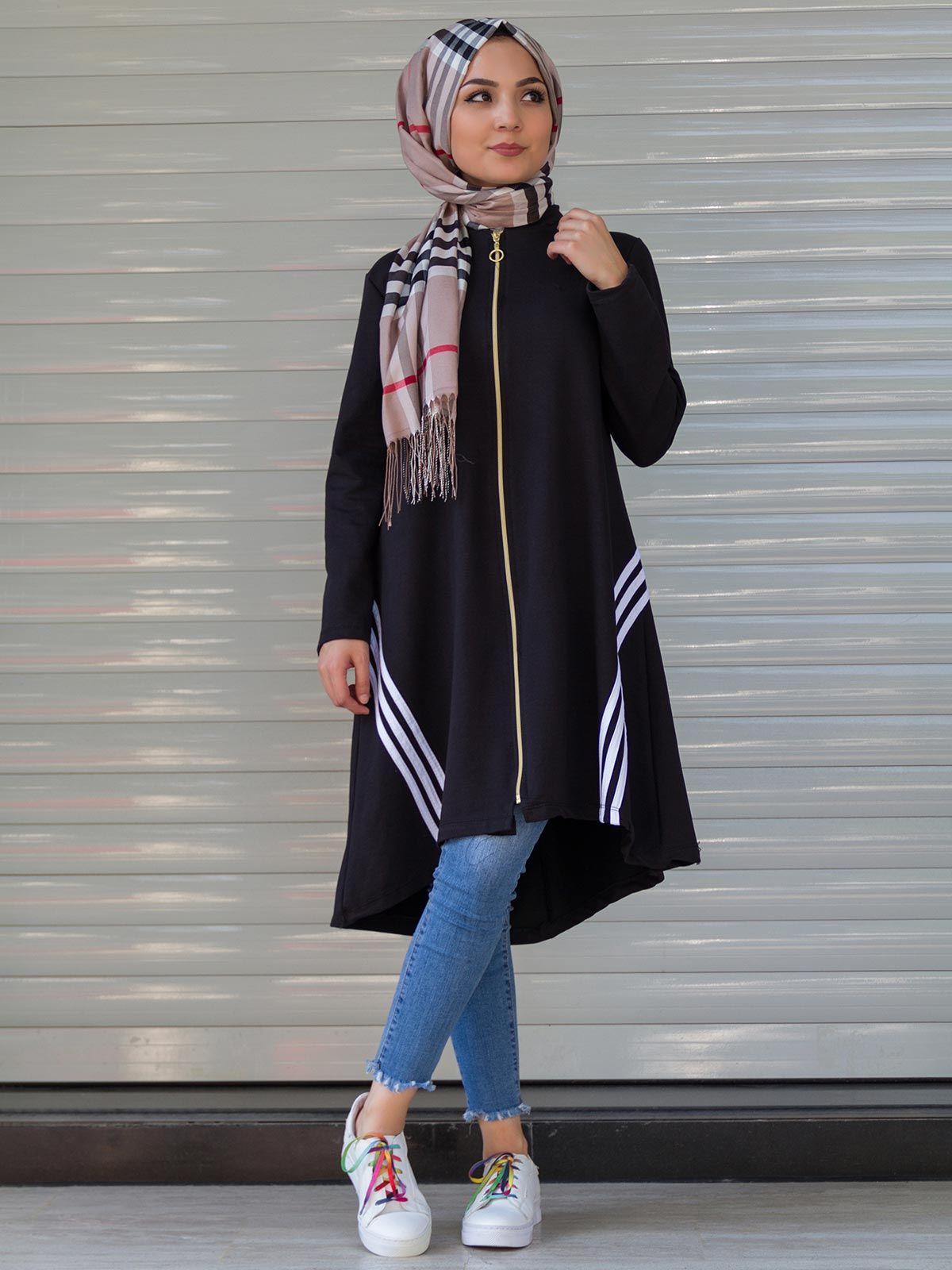 6df78e19e1cd7 Fermuarlı Tesettür Spor Tunik Modelleri | bayan elbise in 2019 ...