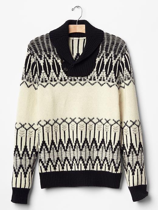 Men GAP Fair Isle Shawlneck Sweater Lambs Wool Nylon Black White ...