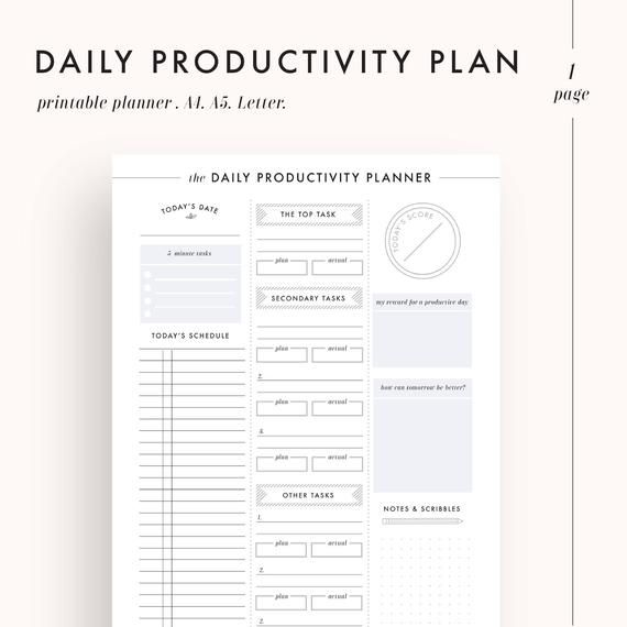 Daily Planner, Productivity Planner, Daily Goals, Daily