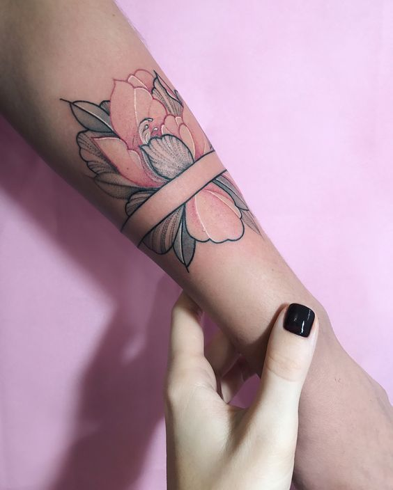 Colorful Floral Tattoos Fitted into Geometric Shapes -  - #Colorful #Fitted #Floral #Geometric #Shap...