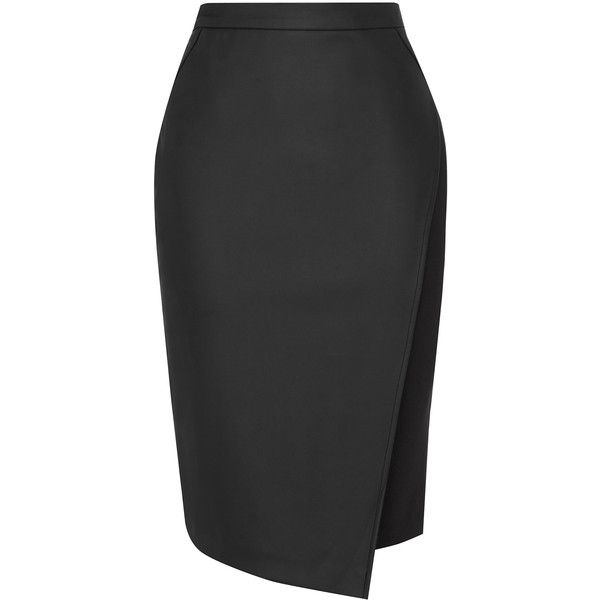 5ea08c064 OASIS Faux Leather Wrap Skirt ($16) ❤ liked on Polyvore featuring skirts,  black, faux wrap skirt, wrap pencil skirt, oasis skirts, pencil skirt and  ...
