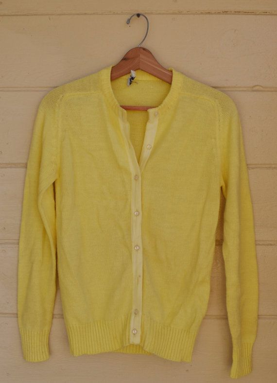 Vintage Cardigan Sweater Button Up Yellow by founditinatlanta ...