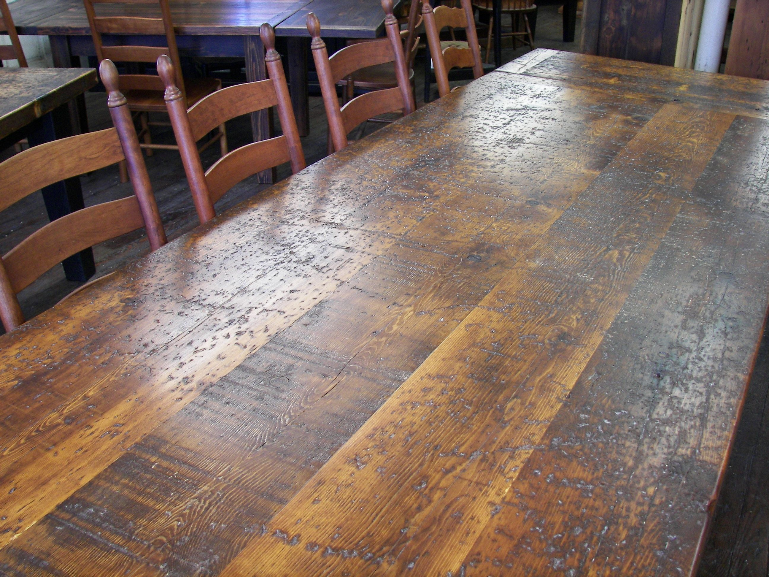 High Character Dragged Spruce Farm Table Top We Use Wood From Dismantled Barns And Log Ho Amish Furniture Lancaster Pa Reclaimed Barn Wood Barnwood Furniture