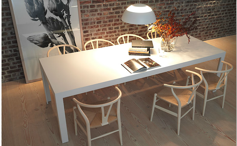bulthaup c2 table in solid core white laminate with hans wegner classic wishbone chairs. Black Bedroom Furniture Sets. Home Design Ideas