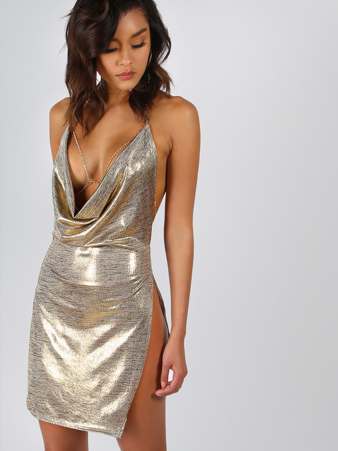 6cd9a4c57b Shop Backless Metallic Plunge Cowl Slit Dress online. SheIn offers Backless  Metallic Plunge Cowl Slit Dress   more to fit your fashionable needs.