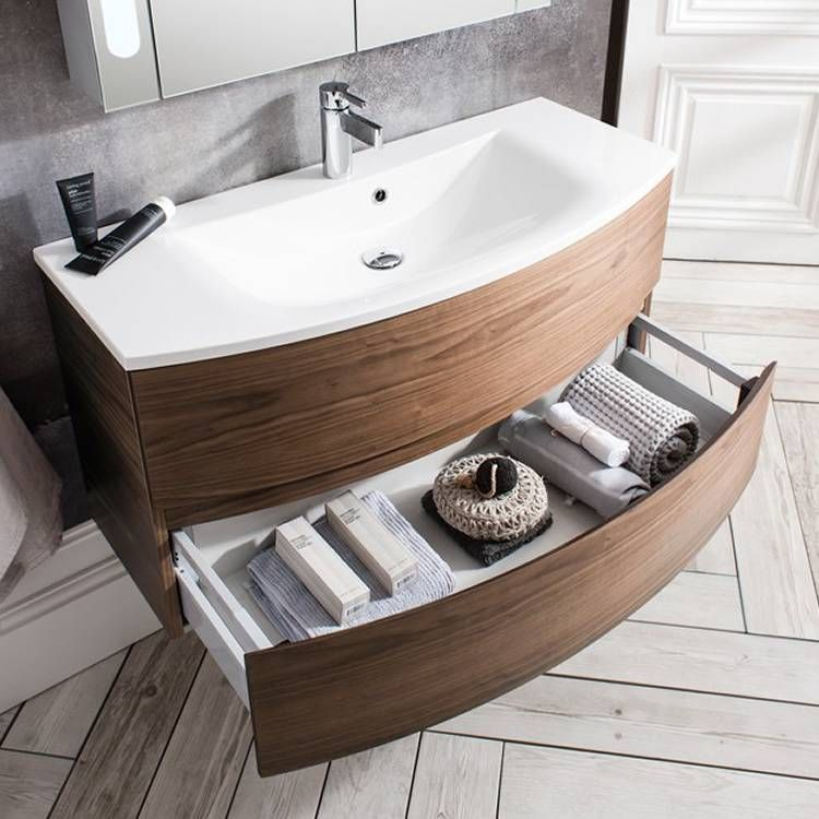 The Bauhaus Svelte 100 American Walnut Vanity Unit Basin Will Add Elegance To All Bathroom Designs Whilst Soft Closing Drawers Provide Ample Storage