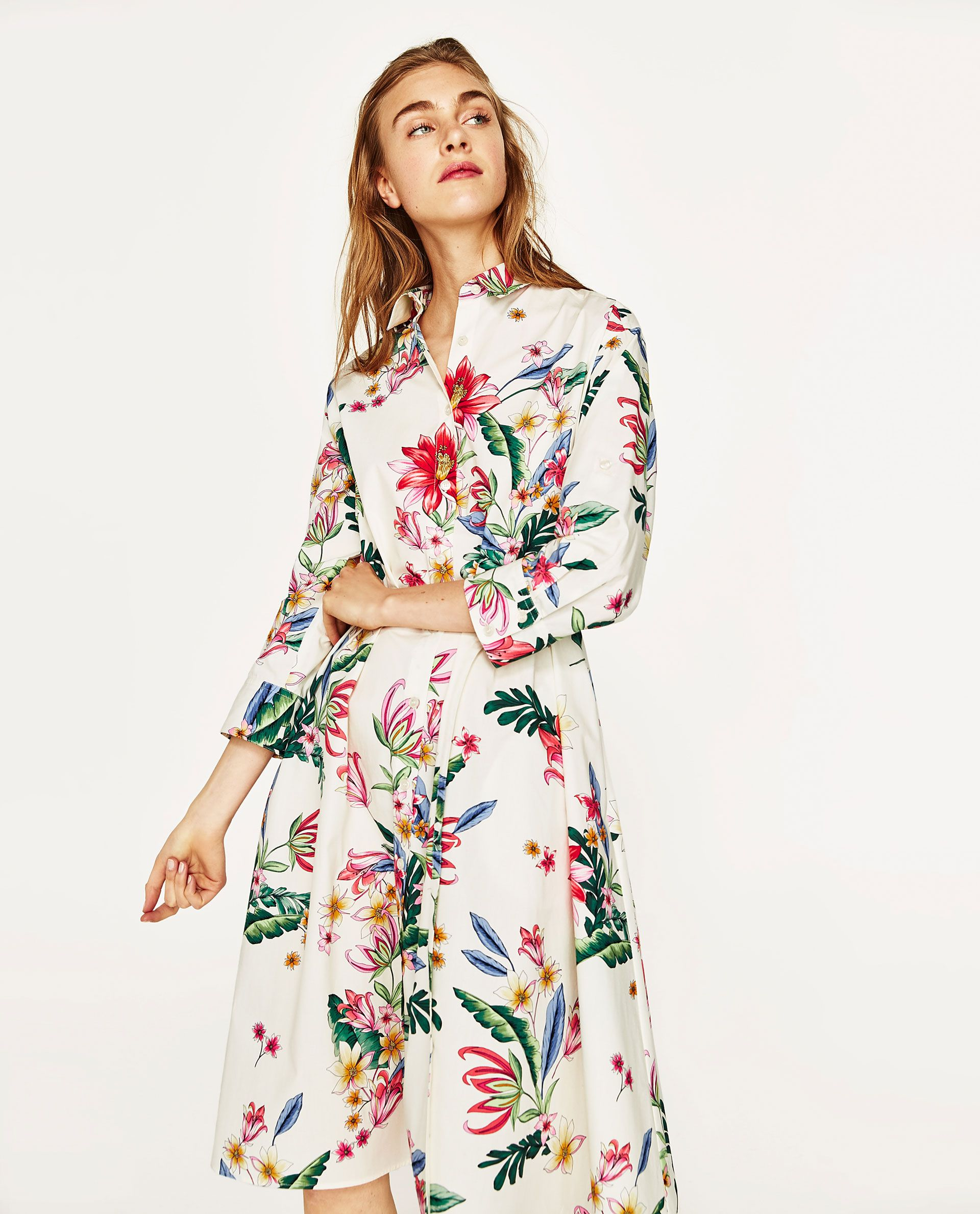 5d1a0a9d7db808 ZARA WHITE FLORAL SHIRT DRESS
