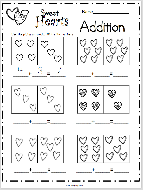 Sweet Heart Addition Worksheet Madebyteachers Kindergarten Addition Worksheets Kindergarten Math Worksheets Preschool Math