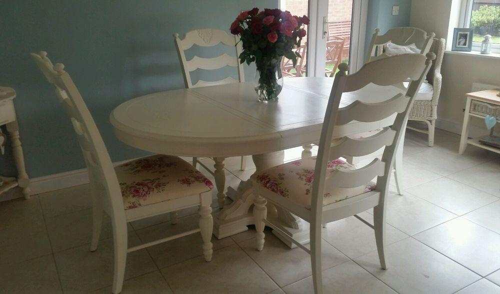 white dining table shabby chic country. Shabby Chic French Country Dining Table And 4 Chairs Laura Ashley White \u0026 Roses E