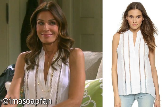 I'm a Soap Fan: Hope Brady's White Top with Lace Trim - Days of Our Lives, Season 50, Episode 282, 10/30/15, Kristian Alfonso, #DOOL Fashion, Wardrobe worn on #DaysofOurLives #Days50