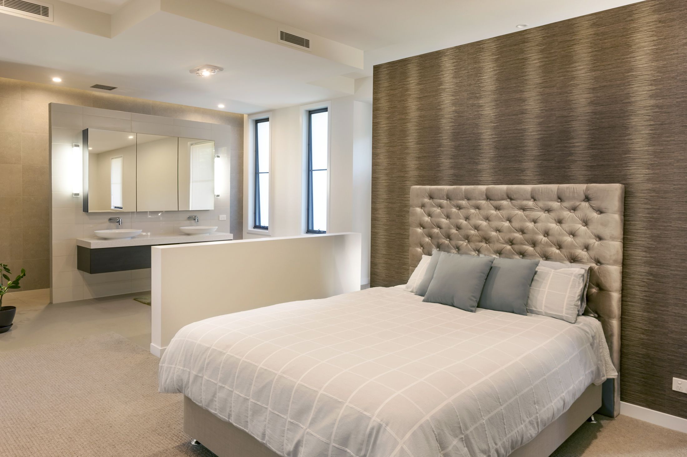 Master bedroom ensuite plans  Open plan master bedroom and ensuite with a bold feature wall Home