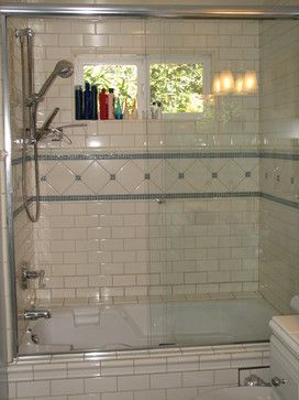 Glass Subway Tile Bathroom Ideas Blue Glass And White Subway Tile Kids Tub Shower
