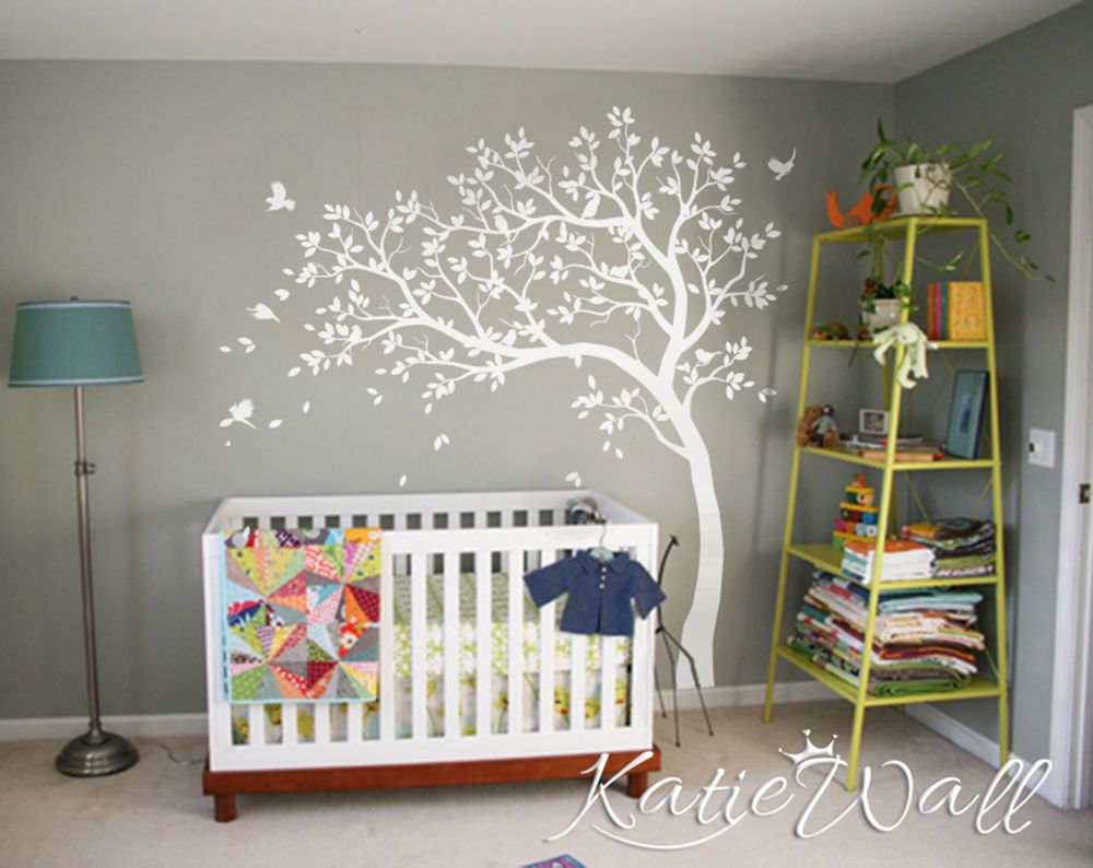 White Tree Wall Decal Nursery Tree Sticker Baby Room Wall Art Decor