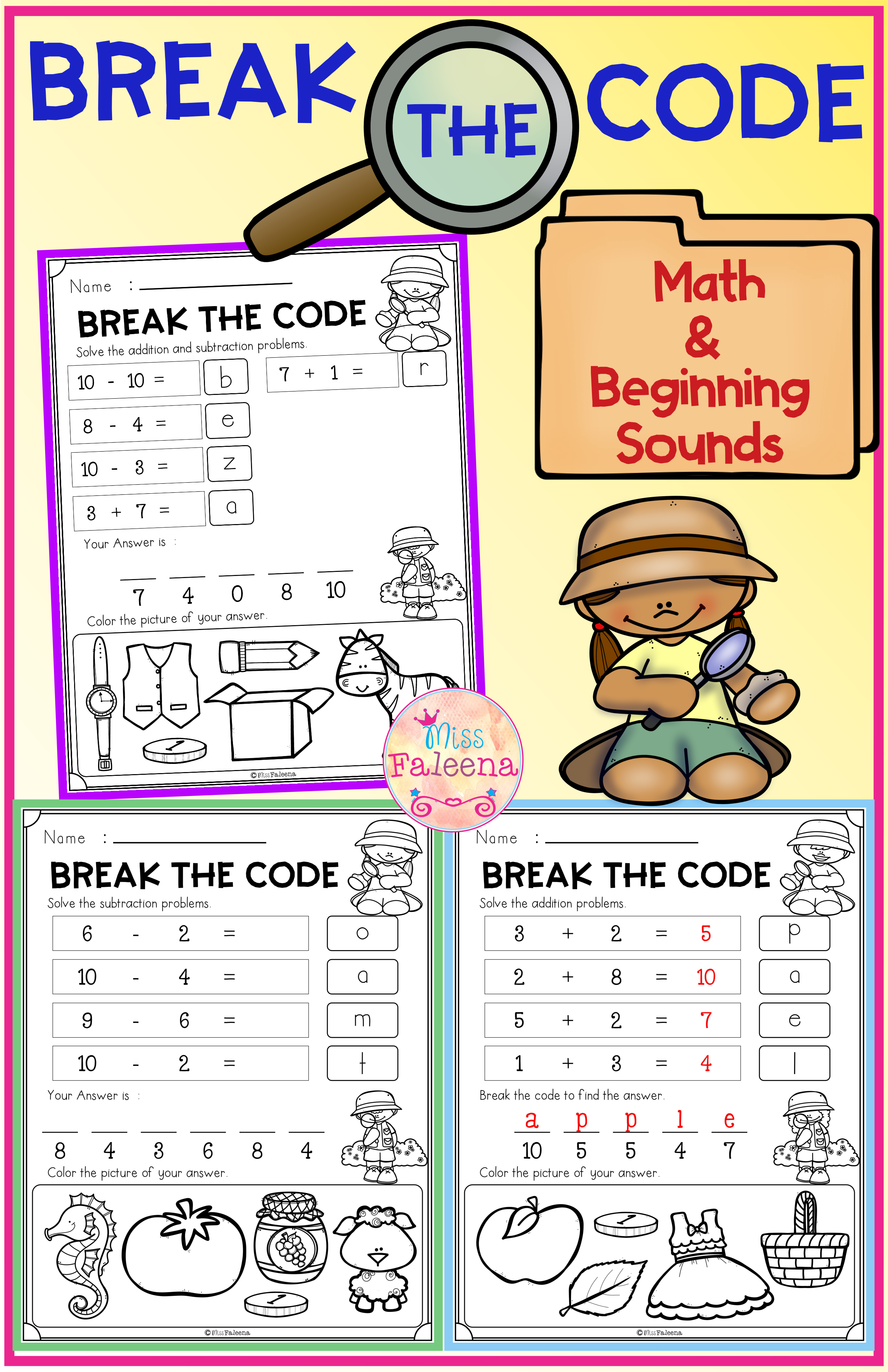 Break The Code Math And Beginning Sounds