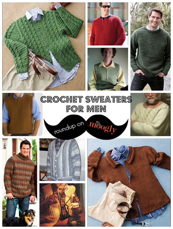 Manly Men Wear Crochet Sweaters: 10 Free Patterns! - moogly. CHECKED ...