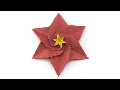 Learn how to make a six petals origami poinsettia flower youtube learn how to make a six petals origami poinsettia flower youtube mightylinksfo