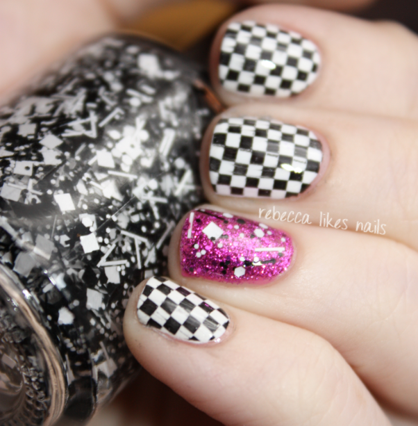 Photo of rebecca likes nails: Black and white checkered flags with pink accent nail art m…