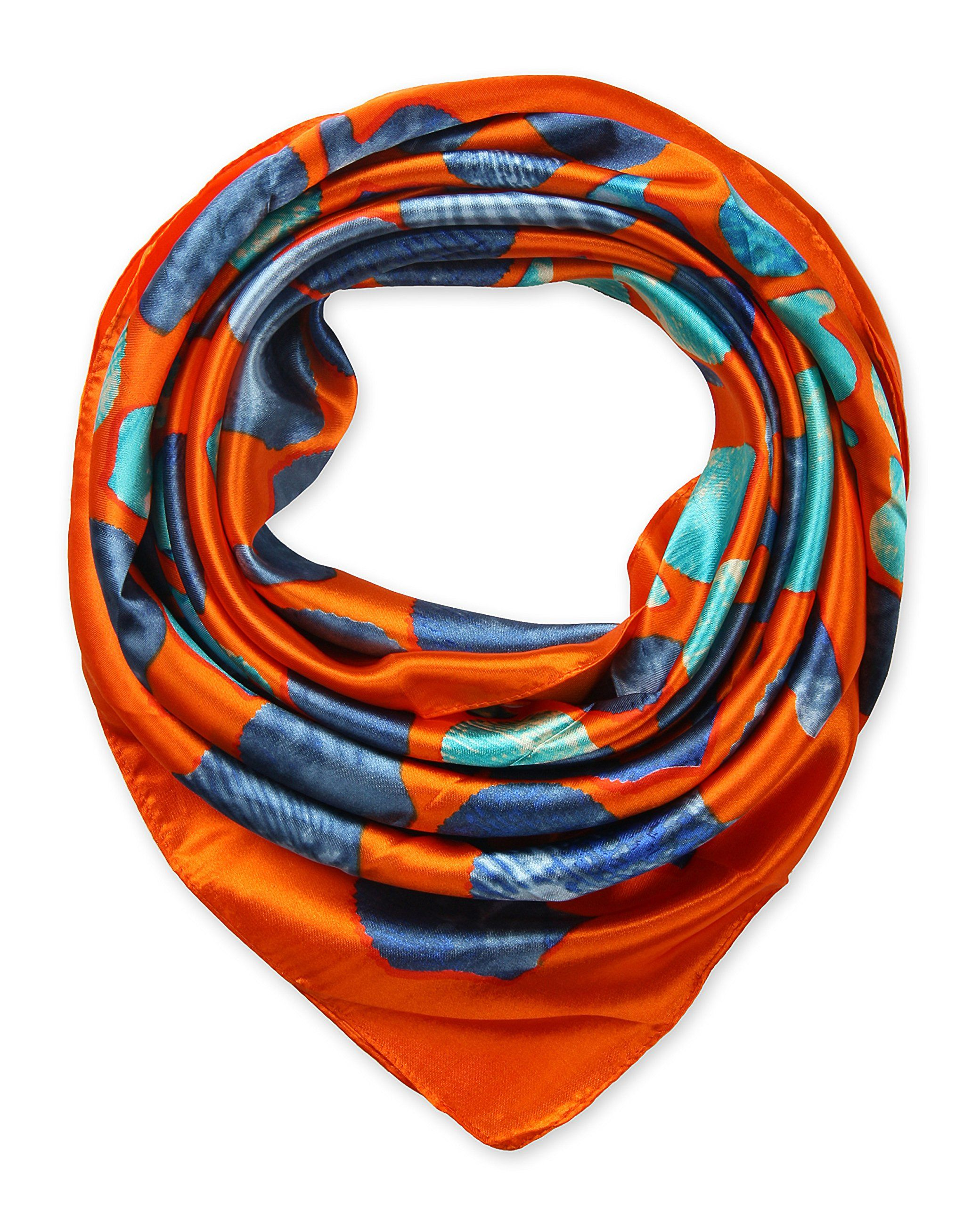 "Corciova®  35"" Silk-like Big Square Scarf 35 x 35 (Shell orange background)"