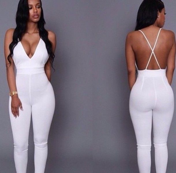 Collection White Jumpsuit Romper Pictures - Reikian