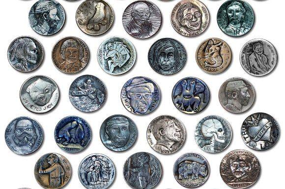 A variety of Hobo nickels.