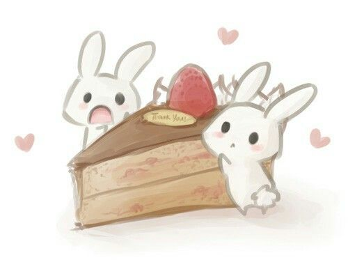 Cute bunnies with cake cute chibi kawaii ness pinterest cute bunnies with cake ccuart Gallery