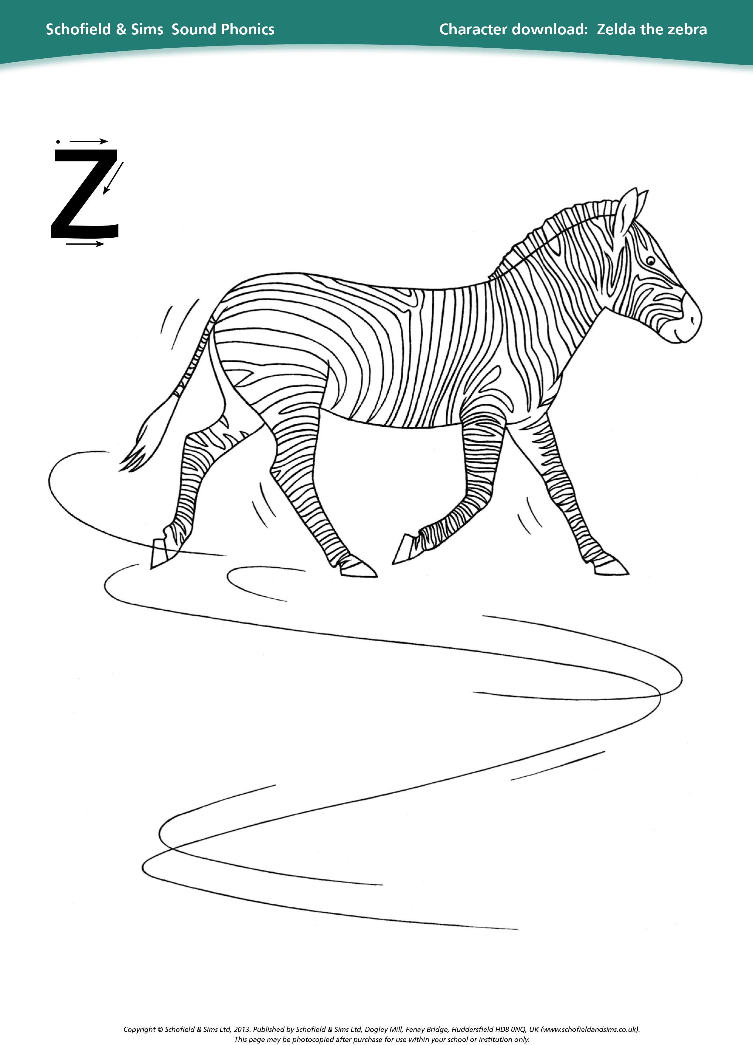 Zelda The Zebra Sheet For Learning Phonics Education Ks1