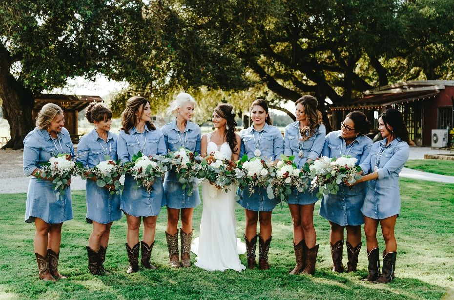 A Rustic Texas Vineyard Wedding That S All Country Country Bridesmaid Dresses Country Wedding Dresses Western Wedding Bridesmaids