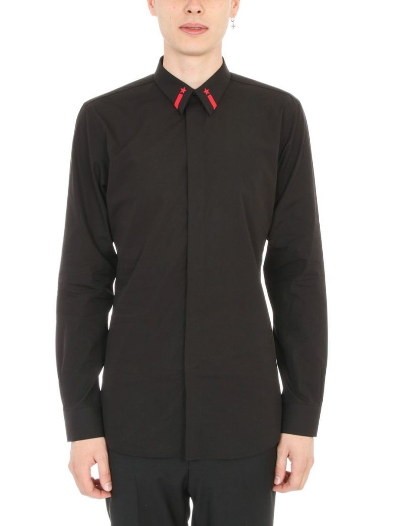 GIVENCHY Givenchy Star Embroidered Black Cotton Shirt. #givenchy #cloth #