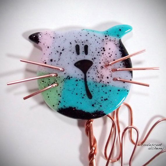 Fused Glass Cat Garden Stake Copper Outdoor By CoalescentAlchemy