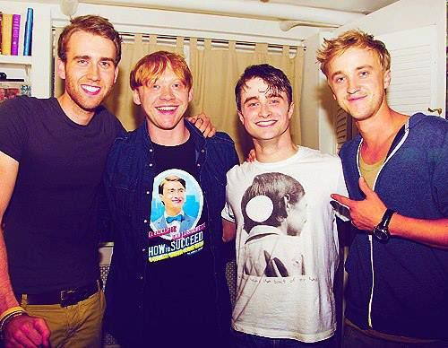 Matthew David (neville), Rupert Grint (Rony), Daniel Radcliffe (Harry) and Tom Felton (Draco)